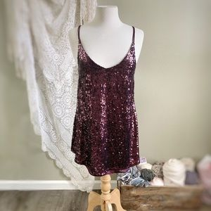 FREE PEOPLE | Purple Sequin Open Back Mini Dress